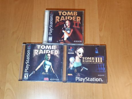Zestaw trzech części Tomb Raider na playstation ang