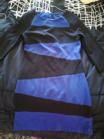 Vestido azul petróleo e preto Mango