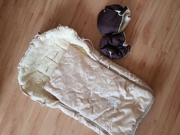 Śpiwór do wózka gondoli + ochraniacze zimowe na ręce