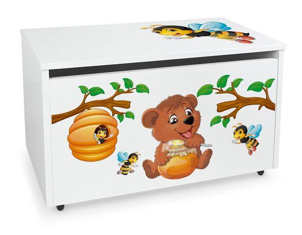 Duża drewniana skrzynia na zabawki XXL na kółkach Motyw:Miś Pasibrzuch
