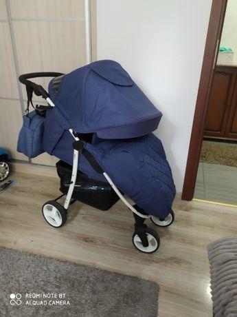 Wózek spacerowy Rapid 4 Baby-Len Blue z białą ramą+maxi zestaw