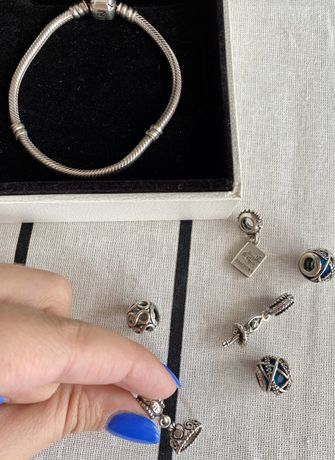 Pandora bransoletka 17 cm + charmsy