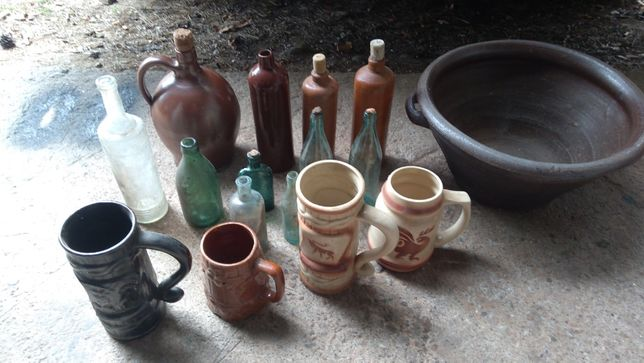 Stare ,butelki kufle do starej kuchni