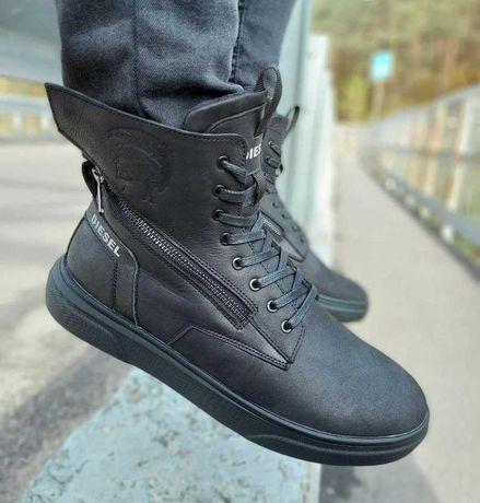 Зимние кожаные ботинки кроссовки на меху Diesel Black Wing