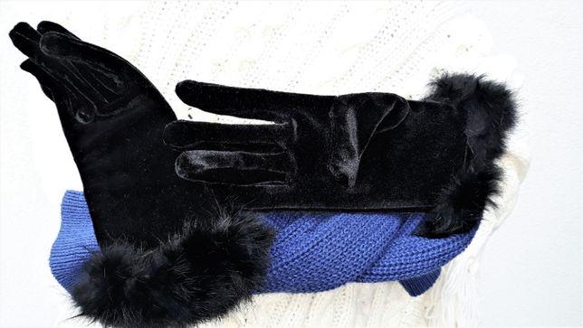 RĘKAWICZKI nowe czarne #welur aksamit wykończone naturalne futro