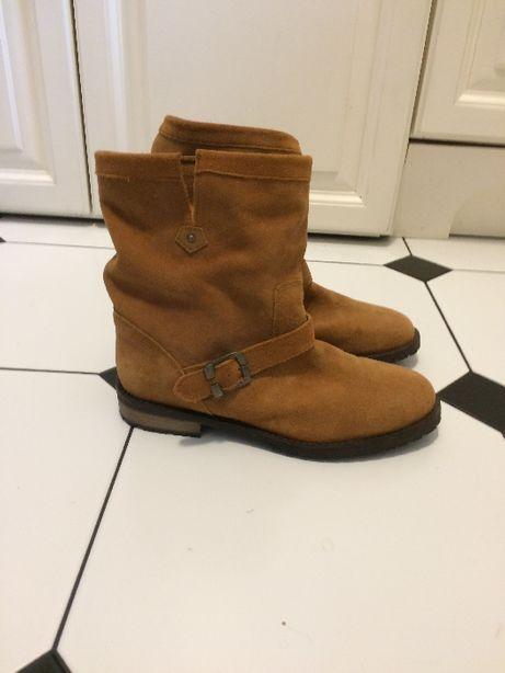 Botki buty f. Reserved r. 38 39 camel beż sztuczny zamsz stan bdb