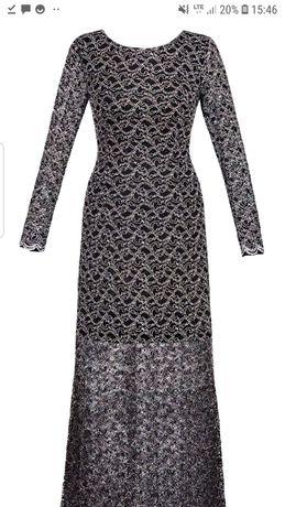 Sukienka firmy Dagon z koronki z efektownym dołem roz 40 L