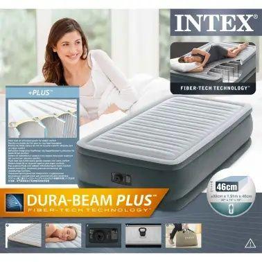 Materac dmuchany łóżko z pompką elektryczną 99x191x46cm INTEX pompa