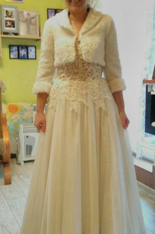 suknia ślubna muślin koronka giepura plus gratisy