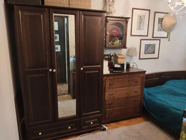 Meble Sypialnia. Szafa trzydzwiowa, łóżko 160x200, komoda. Drewno !