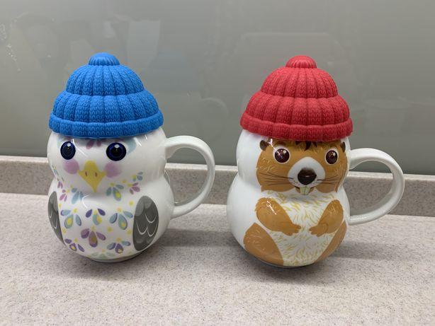 Чашки керамические с силиконовыми крышками Новые