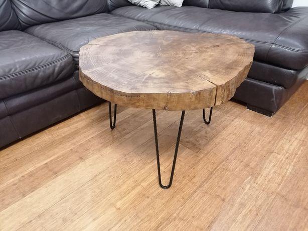 Stolik, drewniany, topola, ciemny, kawowy, duży