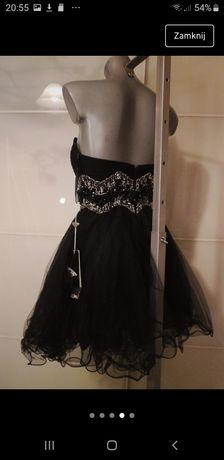 Sukienka czarna cyrkonie falbanki rozkloszowana Xs S