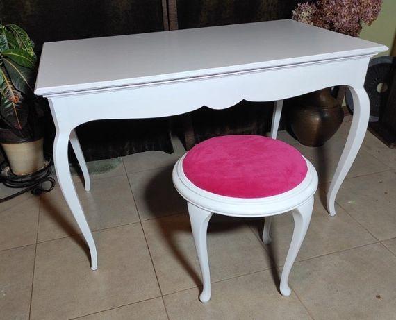 Toaletka biała + stołek różowy, Prowansja, Vintage , Ludwik