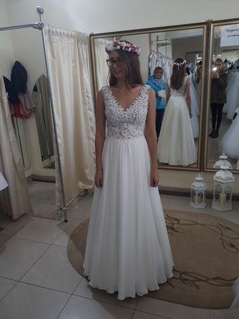 Suknia ślubna S  boho rustykalna zwiewna muślin