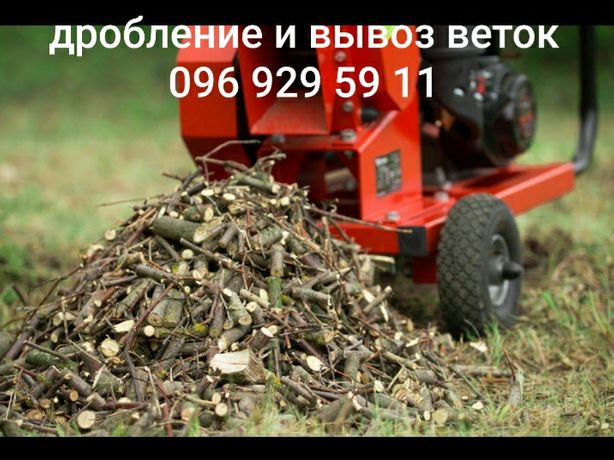 Спиливание деревьев в труднодоступных местах.Дробление веток.