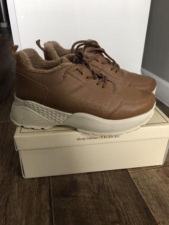 Buty sneakersy 40 - 39 brąz wysoka podeszwa modne