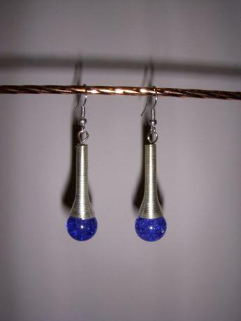 Kolczyki wiszące srebrne z fioletową zawieszką
