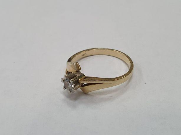0.25 CT VVS! Piękny złoty pierścionek 585/ 3.28g/ R17/ bardzo czysty!