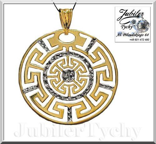 Duży złoty wisiorek - złoto białe rodowane wisior Au 585 Jubiler Tychy