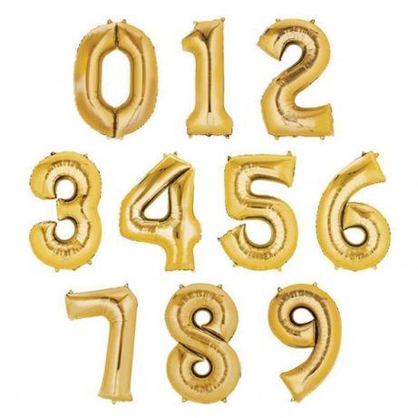 Balony foliowe 0,1,2,3,4,5,6,7,8,9 złoty balon