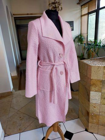 Płaszcz szlafrokowy płaszcz wiosenny pasek w talii pudrowy róż S okazj