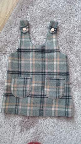 Modna sukienka szara w kratke NEXT 9-12 miesiecy