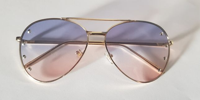 Okulary przeciwsłoneczne cieniowane szkła, złote, ozdoby NOWE! UV 400