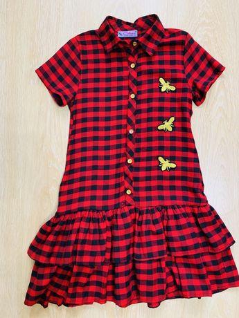 Платье в клетку на девочку 8-11 лет