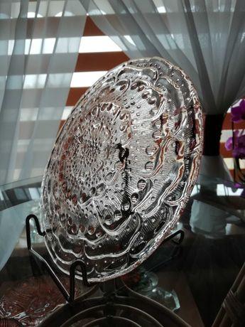 Ząbkowice szkło kolorowe talerz flora