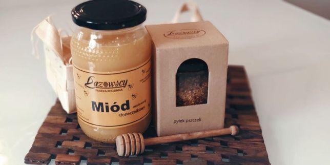 Świąteczny zestaw upominkowy miód pszczeli pyłek Pasieka Łazowscy