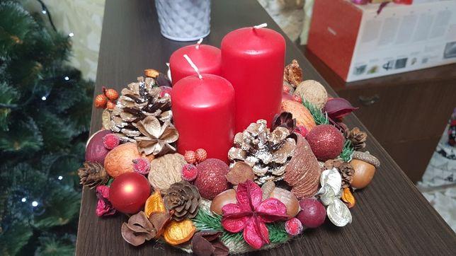 Новогодняя композиция,  свечи, подсвечник
