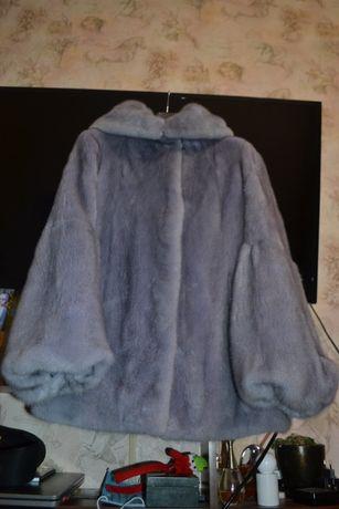 Норковая шуба голубая, плюшевая,Nafa канадка р.м