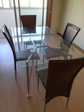 Mesa Jantar Vidro c/4 cadeiras