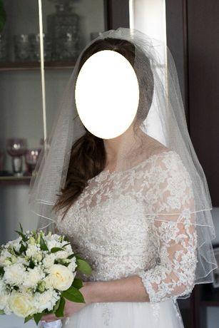Suknia ślubna koronkowa ecru + futrzany szal