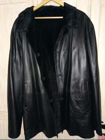 Натуральное Кожаное пальто (куртка) на меху, шикарная новая, большая