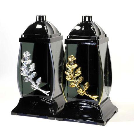 Znicz baryłka black mirror róża złota/srebrna 3D