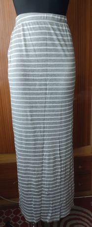 Spódnica maxi rozporek paski pasiak na gumce marynarska