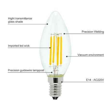 E14 5 x Lampadas LED de Filamento 220V 4W