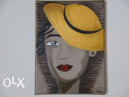 Tela com pintura em acrílico Mulher com chapéu