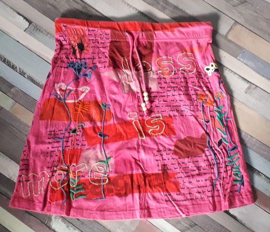 Spódnica różowa we wzory haftowana tania okazja Desigual roz. M