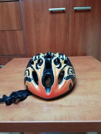 Kask rowerowy pomaranczowo-czarny