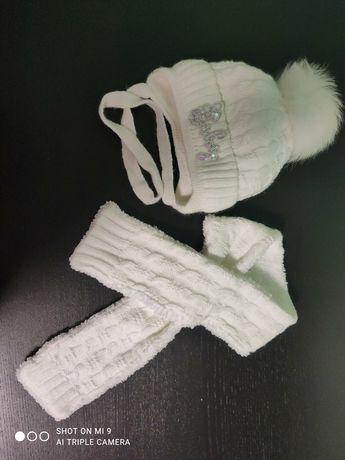 Набор шапка с шарфом белый