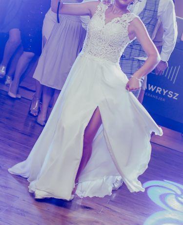 Suknia ślubna muślinowa biała, rozmiar 34 XS