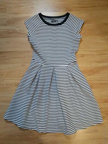Sukienka XS Sinsay szkoła uroczystości paseczki biało-czarne Bdb