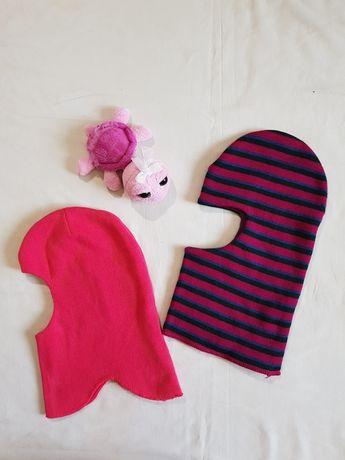 Шапка шлем для девочки 1-2 года (красный) и 5-8 лет (полосатый)