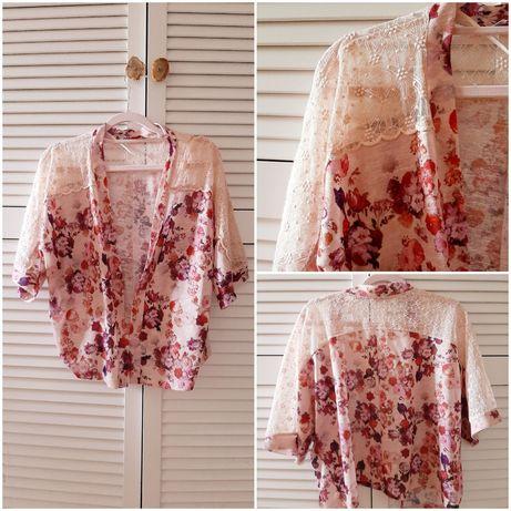 Różowa bluzka pudrowy róż kwiaty floral print koronka Dorothy Perkins