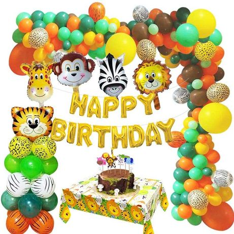 Kit decoração festa aniversário animais da selva - portes grátis