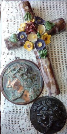 Porcelanowy krzyż stara Plakieta Chrystusa+prezent