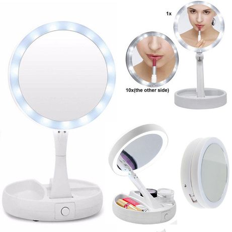 Складное зеркало для макияжа с Led круглое My Fold Away Mirror